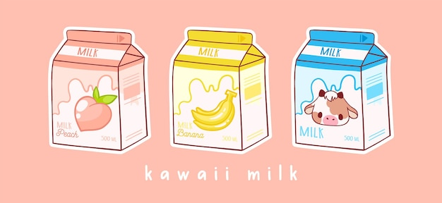 Satz von drei cartoons von milch drei verschiedenen geschmacksrichtungen pfirsich-banane und milch asiatisches produkt