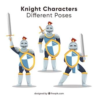 Satz von drei charakteren mit rüstung und schilden