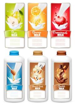 Satz von drei etiketten obst in milchspritzern. birne, orange, granatapfel, honig, vanille, schokolade und flaschen mit tags.