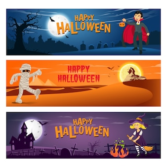 Satz von drei glücklichen halloween-fahnen mit text- und zeichentrickfigurenkindern im halloween-kostüm