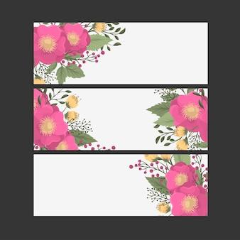 Satz von drei horizontalen bannern. schöne blumen im orientalischen stil. platz für text.