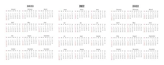 Satz von drei kalendern für 2022 auf einem weißen hintergrund. sonntag bis montag, business-vorlage. vektor-illustration