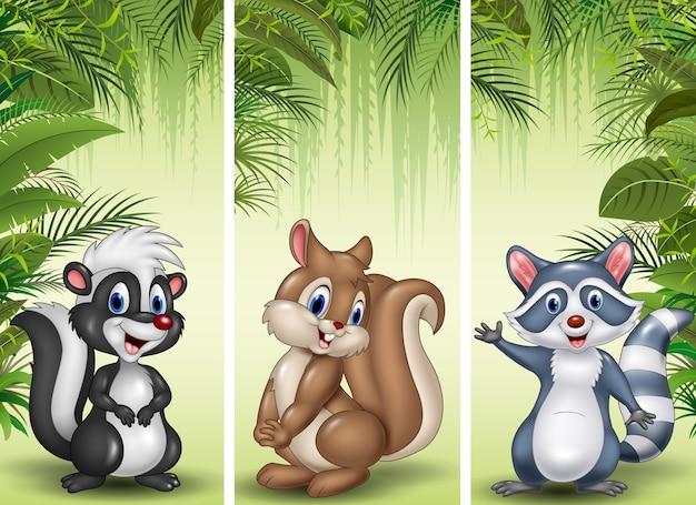 Satz von drei kleinen tieren der karikatur