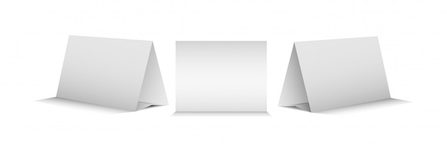 Satz von drei leeren tischzeltkarten, zum von realistischem darzustellen.
