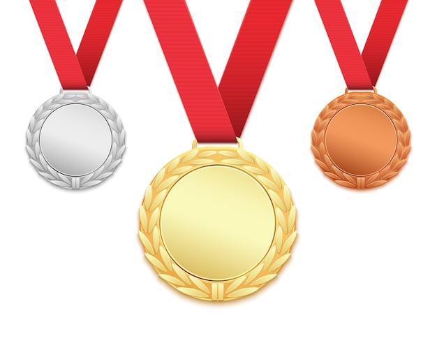 Satz von drei medaillen lokalisiert auf weißem hintergrund
