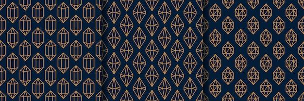 Satz von drei nahtlosem muster des edelsteins im minimalen trendigen stil. goldlineare diamanten auf dunkelblauem hintergrund. vektor abstrakte geometrische textur für papier, karten, einladungen, stoff.