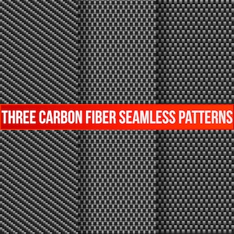 Satz von drei nahtlosen mustern der kohlenstofffaser.