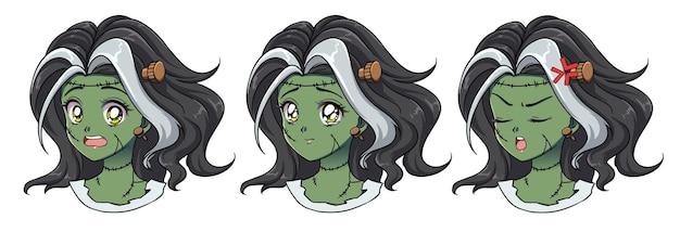 Satz von drei niedlichen anime-zombie-mädchenporträt. zwei verschiedene ausdrücke. hand gezeichnete illustration des retro-anime-stils der 90er jahre. isoliert Premium Vektoren