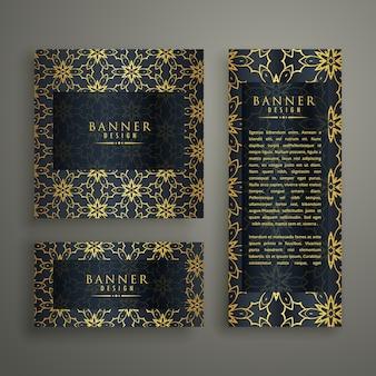Satz von drei premium-banner karten-design mit muster dekoration