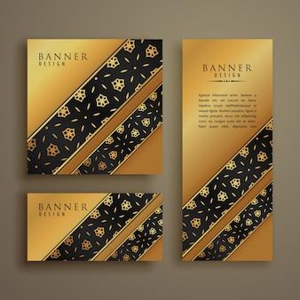 Satz von drei premium-goldenen karten banner design