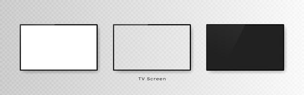 Satz von drei realistischen fernsehbildschirmen isoliert auf transparent.