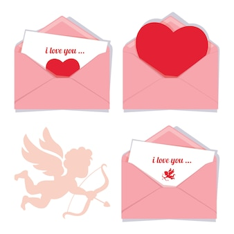 Satz von drei rosa vektor romantischen valentinsgrußumschlägen, lokalisiert auf einem weißen hintergrund mit dem schattenbild eines amors