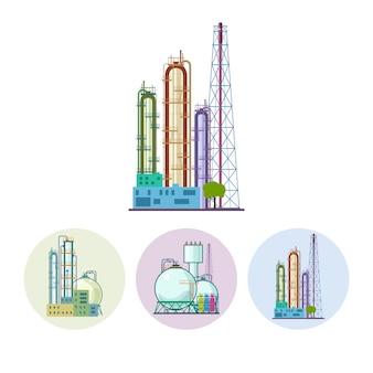 Satz von drei runden bunten symbolen chemiefabriken oder raffinerieverarbeitung von natürlichen ressourcen oder eine anlage zur herstellung von produkten