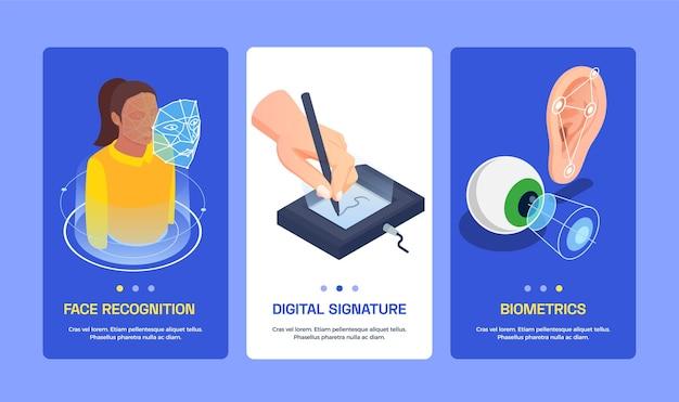 Satz von drei vertikalen bannern mit biometrischer authentifizierung