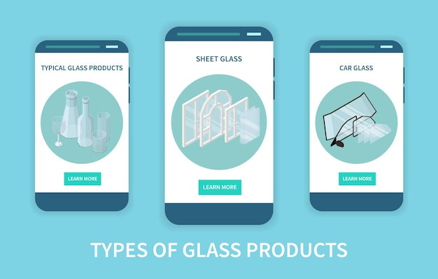 Satz von drei vertikalen glasproduktions-app-bildschirmen