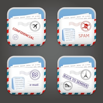 Satz von e-mail-apps-symbolen illustration