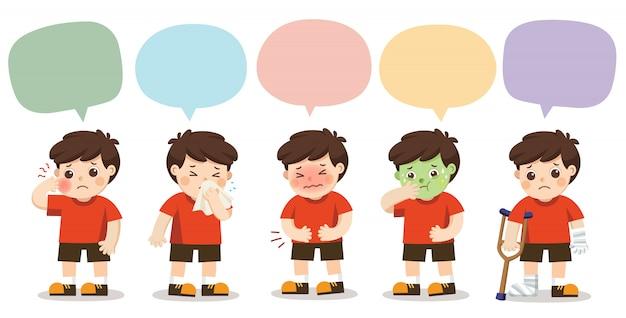 Satz von einem jungen werden krank mit sprachrahmen lokalisiert auf weißem hintergrund.