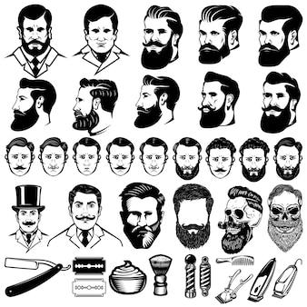 Satz von einfarbigen ikonen des weinlesefriseurs, männerfrisuren und gestaltungselementen lokalisiert auf weißem hintergrund. für logo, label, emblem, zeichen.