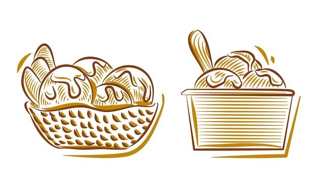Satz von eiscreme-handzeichnungs-illustrationsgekritzel für das branding-logo-hintergrundelement