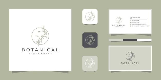 Satz von eleganten botanischen strichzeichnungen, symbol für schönheit, gesundheit und natur logo-design und visitenkarte