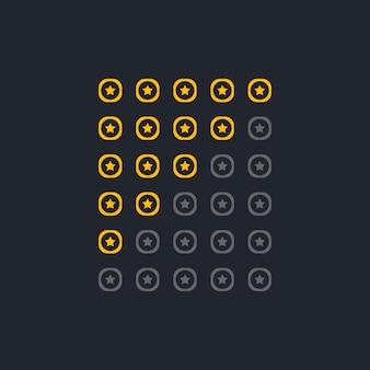 Satz von eleganten startbewertungssymbolen