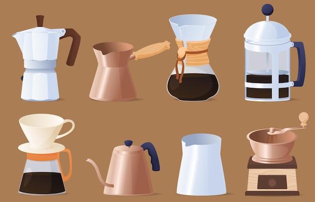 Satz von elementen für die kaffeezubereitung. heißes belebendes getränk.