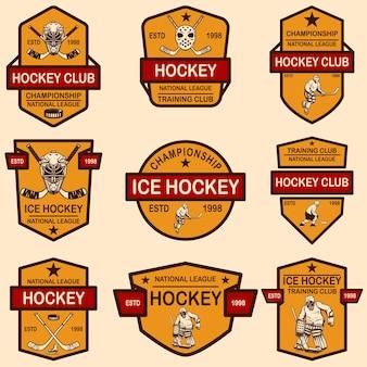 Satz von emblemen des hockeyclubs. gestaltungselement für logo, label, schild, t-shirt, poster.