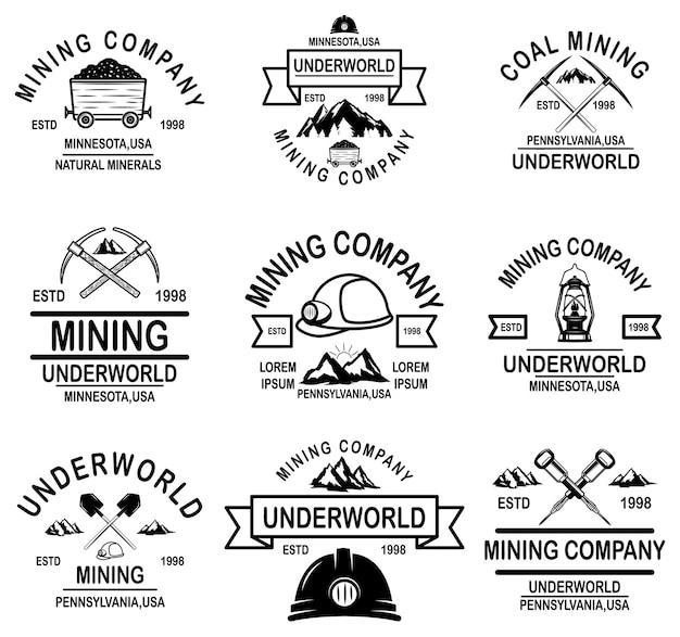Satz von emblemen des kohlebergbauunternehmens