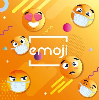 Satz von emoji, der medizinische masken, ikonen für coronavirus im geometrischen abstrakten hintergrund trägt