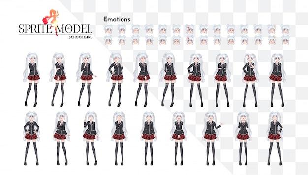 Satz von emotionen. sprite-charakter in voller länge für den visuellen roman des spiels. anime manga mädchen, zeichentrickfigur im japanischen stil. in einem weißen hemd, einem roten rock in einem käfig, einer krawatte und schwarzen strumpfhosen