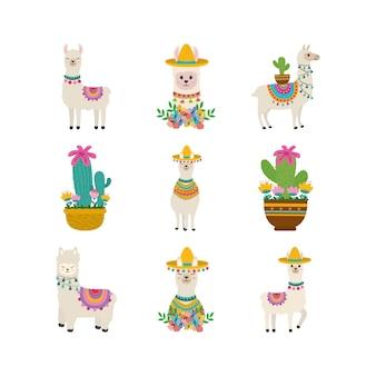 Satz von entzückendem alpaka mit mexikanischer dekoration