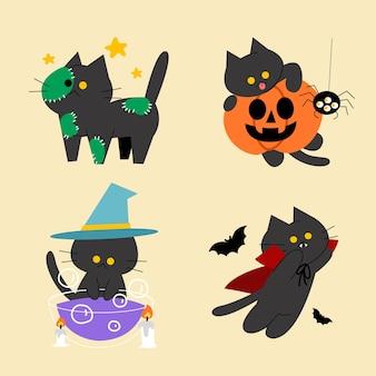 Satz von entzückenden kleinen kätzchen halloween-kostüm