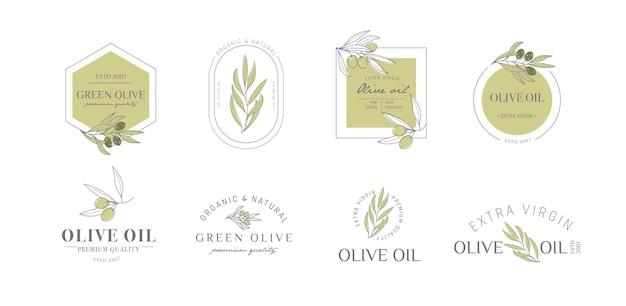 Satz von etiketten-stempel-tags für olivenölseife kosmetik spa-salon