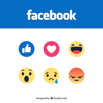 Satz von facebook emoticons in flachen stil