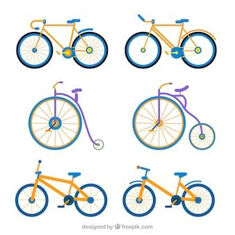 Satz von fahrrädern und einräder in flachem design