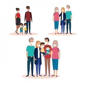 Satz von familien mit gesichtsmasken
