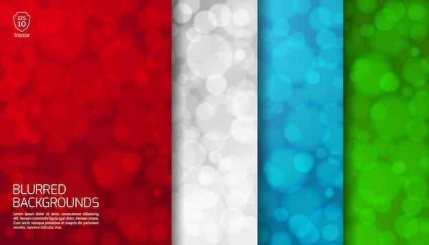Satz von farben mit funkelnden lichtern verschwommen.