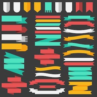 Satz von farbigen bändern und elementen für illustrationskonzept