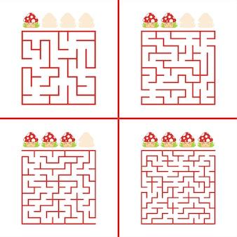 Satz von farbigen quadratischen labyrinthen für kinder pädagogisches arbeitsblatt