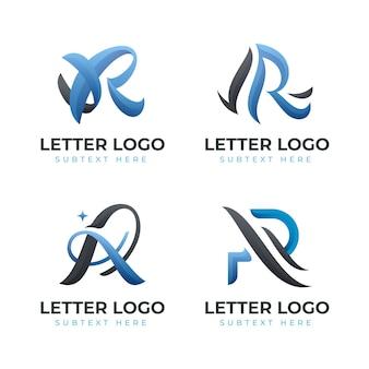 Satz von farbverlaufs-r-logo-vorlagen
