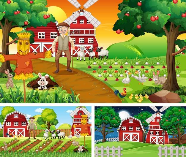 Satz von farmszenen zu verschiedenen zeiten