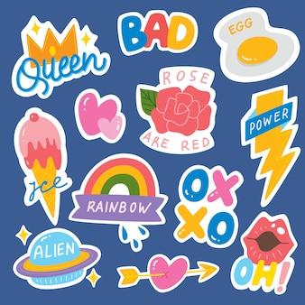 Satz von fashion patch, cute sticker-set