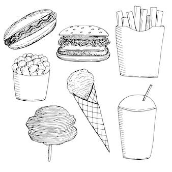 Satz von fast-food-snacks und süßigkeiten vektor-illustration handgezeichnete skizze