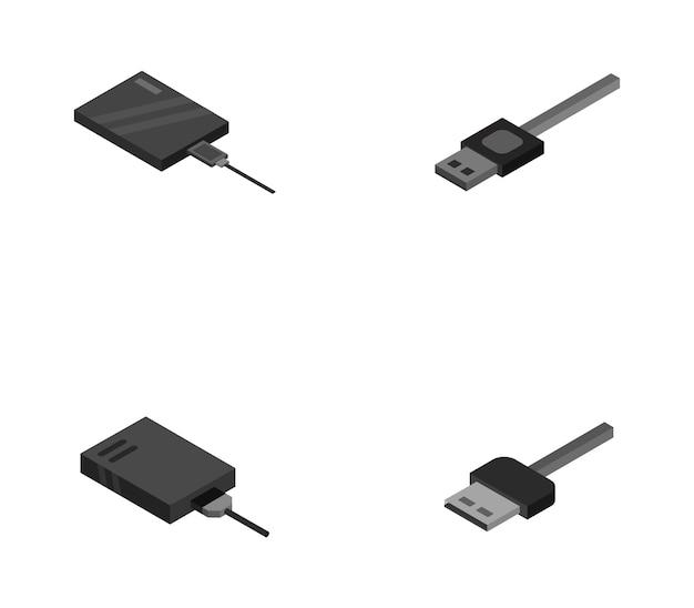 Satz von festplatten und usb-kabel