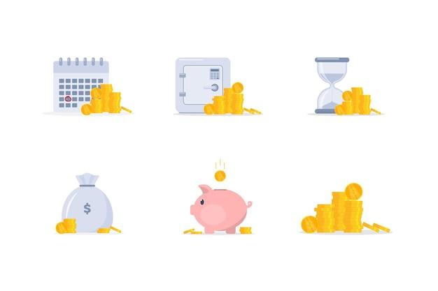 Satz von finanzsymbolen sparschwein mit münzbankeinlage das konzept des geldsparens