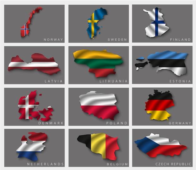 Satz von flaggen.