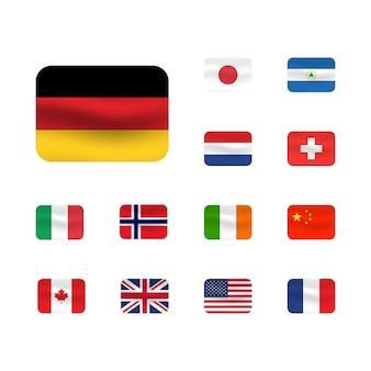 Satz von flaggensymbolen. usa, italien, china, frankreich, kanada, japan, irland, königreich, nicaragua, norwegen, schweiz, niederlande. quadratische symbole flaggen. ui ux-benutzeroberfläche.