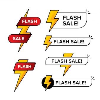 Satz von flash-verkaufsfahnen mit donnerzeichen. in verschiedenen formen und farben gestaltet.
