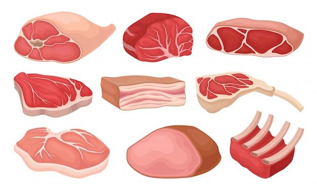 Satz von fleischprodukten. frisches rindfleisch, schweinefleisch, geräucherter schinken, rohe rippen, schmalz. elemente für plakat der metzgerei