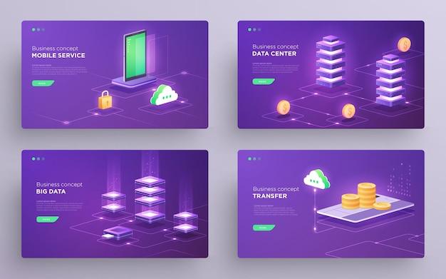 Satz von folienheld-seiten oder digitaltechnologie-bannern datensicherung cloud-datenspeicherung